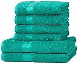 Amazon Basics AB Fade Resitant, 100% Algodón, Verde, 2 baño + 4 manos