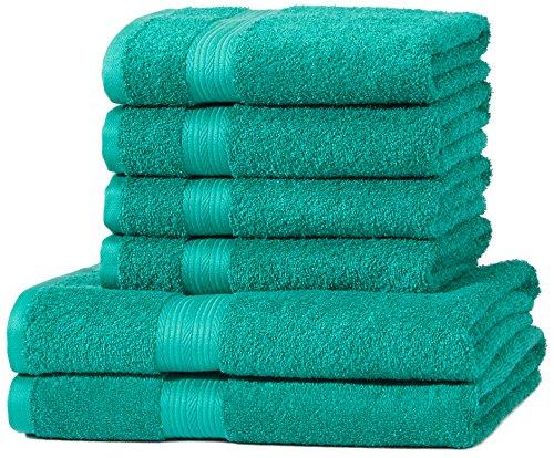 AmazonBasics Handtuch-Set, ausbleichsicher, 2 Badetücher und 4 Handtücher, Türkisgrün, 100% Baumwolle 500g/m²