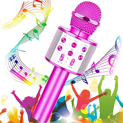 Micrófono Karaoke Bluetooth, Buty Microfono Inalámbrico Karaoke Portátil Niños Altavoces Microfono para Niños Cantar, Función de Eco, Compatible con Android/iOS o Teléfono Inteligente (Púrpura)