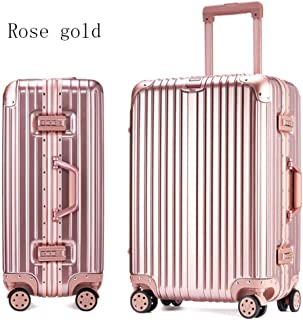 GLJJQMY Trolley Case Aluminum and Aluminum Frame Trolley Case Luggage 24 Inch Luggage Boarding 20 Inch Student Password Box Trolley case (Color : Rose Gold, Size : 26 inches)