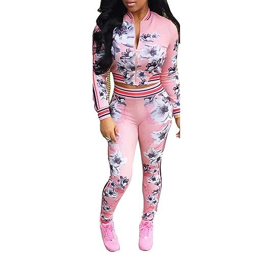 e2f9546ba45 ThusFar Women's Hawaii Floral 2 Piece Set Tracksuit Sports Joggers Jacket  Suit