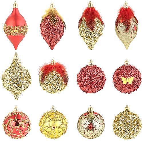 infactory Christbaumschmuck: 12er-Set Weihnachtsbaum-Kugeln mit Pailletten & Federn, rot und golden (Baumkugeln)