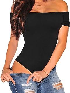 Women's Short Sleeves Off Shoulder Stretchy Bodysuit...
