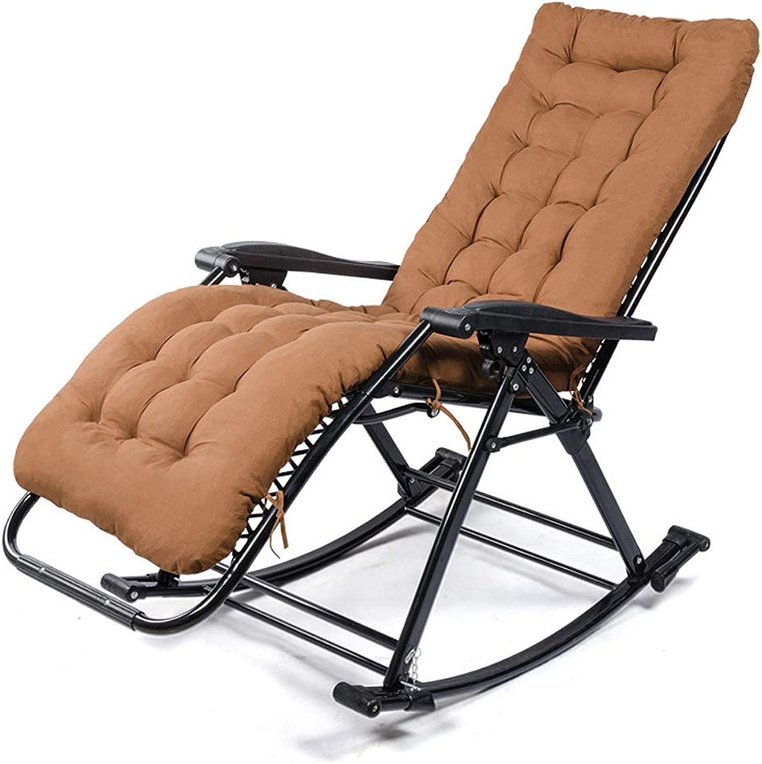 SCM Folding Rocking Elderly Chair with Pad, Lunch Break Recliner Portable Zero Gravity Chairs Outdoor for Camping Fishing (color   Brown)
