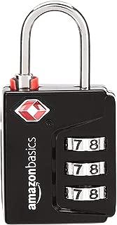 AmazonBasics TSA Accepted Search-Alert 3-Digit Combination Lock, Black, 6-Pack