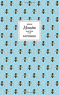 Honeybee Notebook - Ruled Pages - 5x8 - Premium: (Blue Edition) Fun bee notebook 96 ruled/lined pages (5x8 inches / 12.7x2...