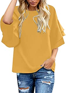 Close-dole Womens Large Size Loose Round Neck Cotton Linen Short-Seeved Shirt Solid Color Button T-Shirt Pullover Top