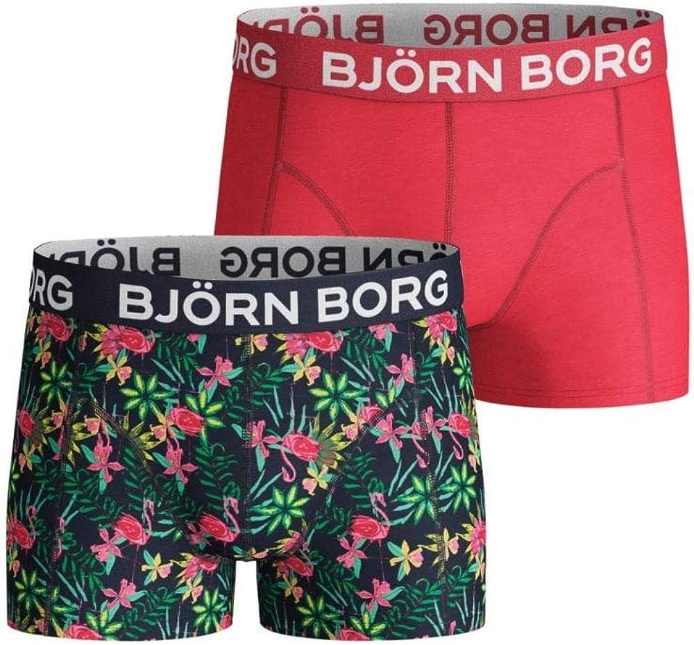 Bjorn Borg 2-Pack Flamingos & Solid Boys Boxer Trunks, Green/Red
