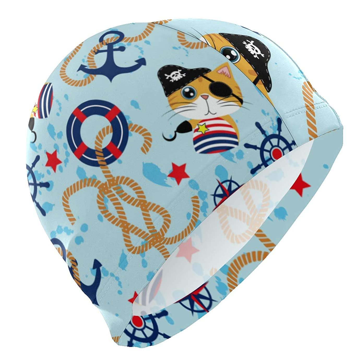 PNGLLD Swim Cap Cute Pirates Cat with Anchor Compass Mens Swimming Cap Boy Adult Youth Teen Swimming Hat No-Slip