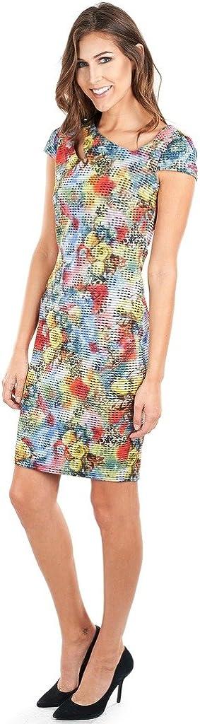 Joseph Ribkoff Multicoloured Fitted Cap Sleeve Dress Style 162644