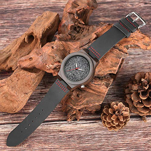 YJRIC Reloj de Madera Reloj de Cuarzo de Madera a la Moda Reloj dePulsera de CueroparaHombre Negro Ultraligero Hora de Madera Natural Hombre Señora