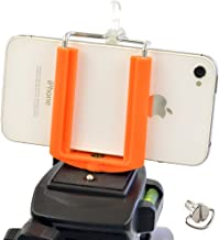 DaVoice Cell Phone Tripod Adapter Mount Holder Clamp Compatible with iPhone X XS Max XR Se 8 7 6 6s Plus Samsung Galaxy S9 S8 S7 Edge Adjustable Smartphone Bracket Clip Cellphone Attachment (Orange)
