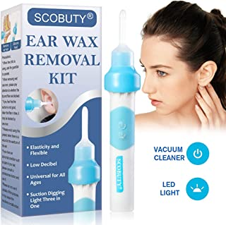 Ear Wax Removal Kit, Ear Wax, Earwax Remover, Electric Earwax Removal Tools, Vacuum Ear Cleaners, Soft Silicone Automatic Earwax Removal Kits with LED Light