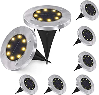 Solar Ground Lights, 8 LED Solar Garden Lights Waterproof Outdoor Garden Disk Lights for Garden Yard Patio Pathway Lawn Driveway, Warm White, 8 Pack