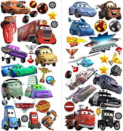 Neues Design Cars 3D Cartoon Wandaufkleber für Schlafzimmer Jungen und Mädchen Wandbild Aufkleber Größe: Groß 76 cm X 72 cm