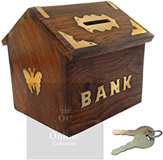Online Collection Wooden Quality Hut Shape Kids Money Bank/Home Decor/Gift Item