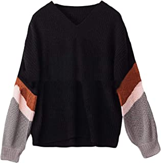 Womens Sweaters Striped Long Sleeve Knit Jumper Loose V-Neck Pullover Sweaters