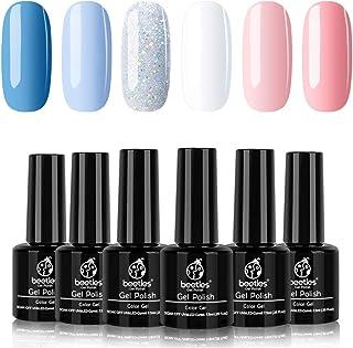 Beetles Gel Nail Polish Set, Cotton Candy Collection Pink Blue Gel Polish Glitter Gel Polish White Nail Polish Art Colors ...