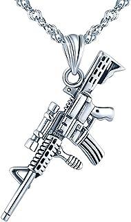 Yumilok Collares Mujer Hombre Moda Collares Pistola Rifle M416 de S925 Plata Colgante con Cadena, PlayerUnknown's BattleGr...