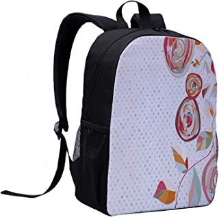 Floral Versatility Backpack,Flower Petals with Fractal Featured Buds on Polka Dots Backdrop Elegance Picture for Trips,12″L x 5″W x 17″H