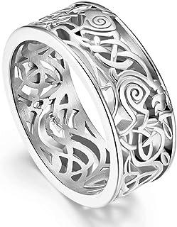 FAANCU الرجال 316L الفولاذ المقاوم للصدأ Norse Viking Odin's Wolf عقدة سلتيك خاتم زفاف مريح صالح ، فضي/الذهب مطلي ، مقاس 8-12