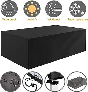 Tvird Funda para Muebles de Jardín,Copertura Impermeable para Mesas Rectangular,Cubierta de Exterior Funda Protectora Muebles Mesas Sillas Sofás Exterior 420D Oxford (242 x 162 x 100CM) -Negro