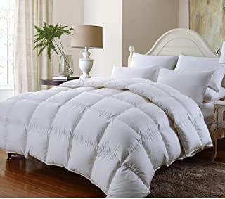 Grandeur Linen's Twin Extra Long (XL) Size Luxurious 800 Thread Count Siberian GOOSE DOWN Comforter, 100% Egyptian Cotton Cover, Solid White Color, 750 Fill Power, 50 Oz Fill Weight
