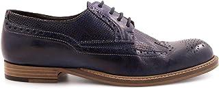LEONARDO SHOES Women's 2147BLUE Blue Leather Lace-Up Shoes