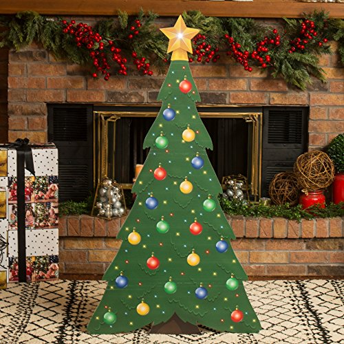 4 ft. 4 in. Small Christmas Tree Standee Standup Photo Booth Prop Background Backdrop Party Decoration Decor Scene Setter Cardboard Cutout