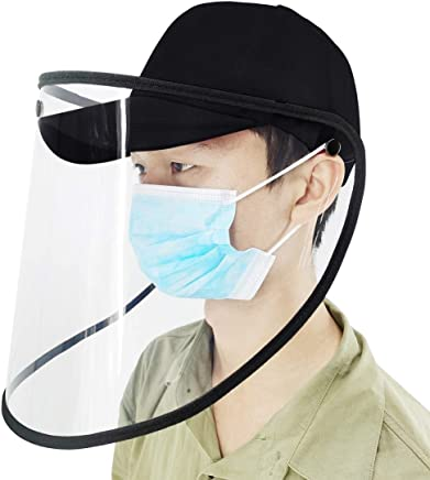 Splash Anti-Spitting Anti-Fog Anti-Oil Protective Baseball Cap Removable Face Shield(Black) (Color : Black)