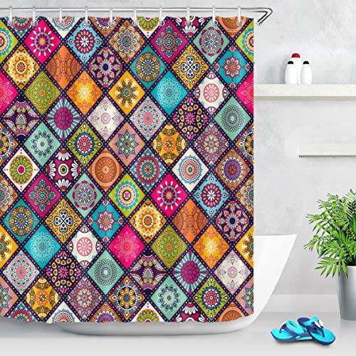 LB Mandala Rideaux de Douche avec Crochets Fleurs dans Une Grille colorée, Style bohème Longs Rideaux de Bain Résistant à l'eau Tissu Polyester Anti Moule Décor de Salle de Bain,150X180CM
