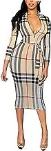 Angsuttc Womens Plaid Print 3/4 Sleeve Tie Waist Bodycon Midi Dress