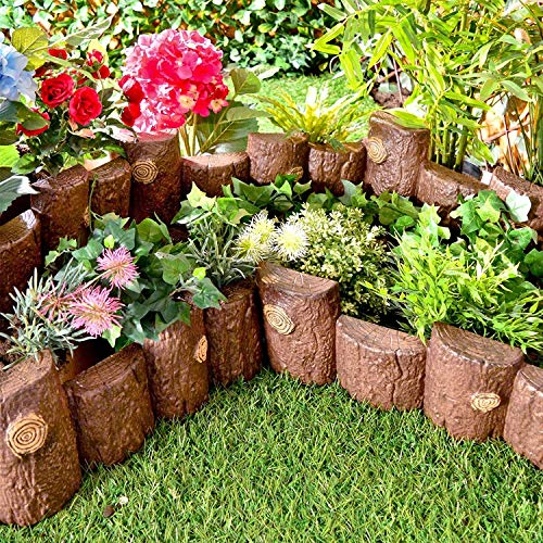 Jack In The Box Set of 5 Imitation Wooden Fence Wood Log Effect Edging Plastic Lawn Edge Edging Wooden Border Garden Flowerbed