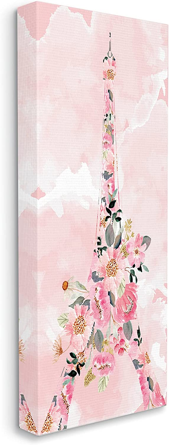 Stupell Seasonal Wrap Introduction Industries Floral Pattern Eiffel Pink Raleigh Mall Tower Sky Cloudy