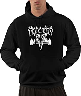 Flame Skategoat Men's Black Hooded Fleece Sweatshirt with Pocket
