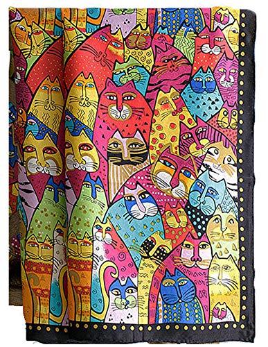 laprée - Schal Seide Damen Seidenschal Kunstreproduktion mit handgerolltem Rand 90 * 90cm - Tiermuster Katze Katzenmotiv
