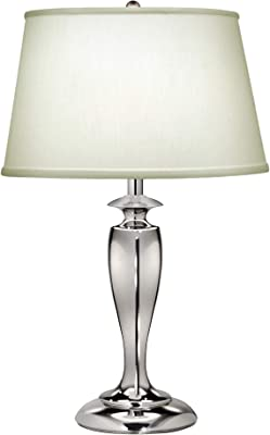 Table Lamp - Zinc Cast - Pearl Supreme Satin Shade - in - line On/Off Switch - Highly Polished Nickel Finish - LED E27 60W Bulb
