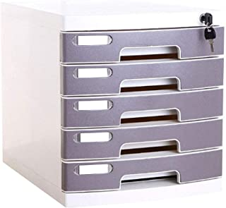 File Cabinet Organiseur de bureau 5 tiroirs avec serrure Boîte pour stockage de fichiers Bureau 29,5 x 39,4 x 32,5 cm Armo...