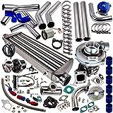 10Pcs T04E T3 T4 T3/T4 Universal Turbo Turbocharger Kit Stage III 350HP Upgrade + Wastegate + 2.5' Turbo Intercooler + BOV + Piping kit New