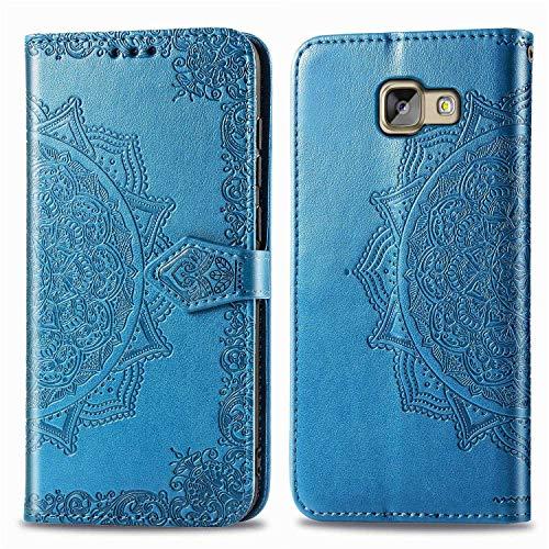 Bear Village Hülle für Galaxy A5 2016, PU Lederhülle Handyhülle für Samsung Galaxy A5 2016, Brieftasche Kratzfestes Magnet Handytasche mit Kartenfach, Blau
