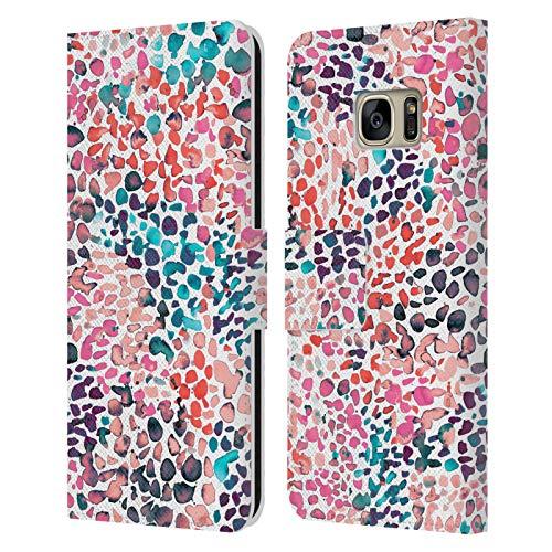 Head Case Designs Licenciado Oficialmente Ninola Pintura moteada Acuarela 2 Carcasa de Cuero Tipo Libro Compatible con Samsung Galaxy S7