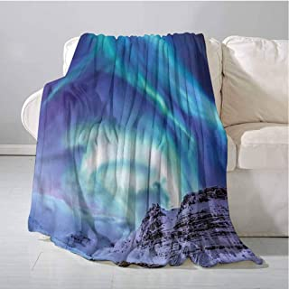 lacencn Minky Blankets, Fit Couch Sofa Ultra-Soft Microfiber Fluffy Plush Hypoallergenic Blanket Couch Decorative, Winter | Aurora Borealis Iceland - 70