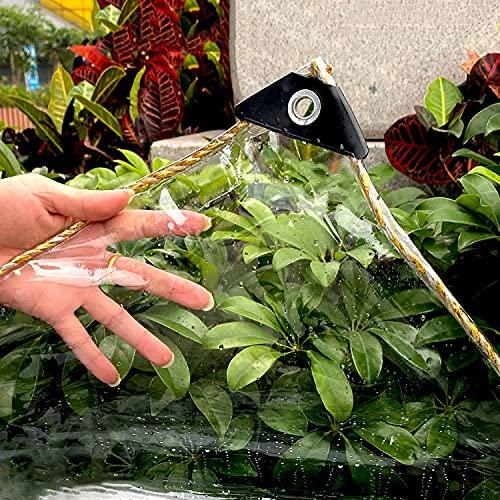 U/D Lonas Impermeables Exterior, Lona De Plástico De PVC Transparente con Ojales, Cubierta De Hojas para Plantas De Flores De Jardín Toldo A Prueba De Lluvia, 450G / M²,Clear,2.4x5m