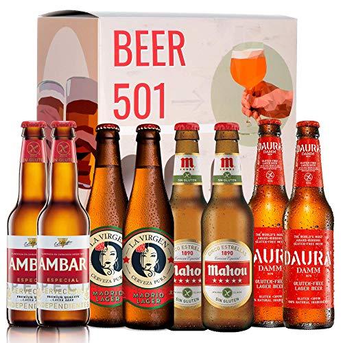 Pack de cervezas degustación BEER 501 - Caja Sin GLUTEN: Ambar, San Miguel, Mahou y Damm Daura. I La mejor selección de cervezas para regalar y disfrutar.