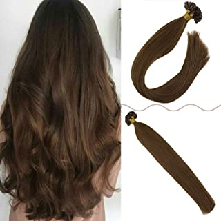 JoYoung U Tip Fusion Hair Extensions Remy Human Hair Silk Straight Keratin Fusion Human Hair Extensions 20inch 100% Real Pre Bonded Utip Extensions Light Brown Hair 1g/s 50g