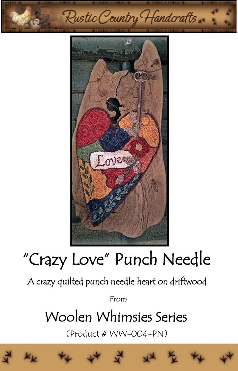 Rustic Country Handcrafts RCHWW-004PN Crazy Love Punch Needle Pattern