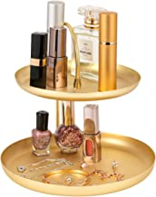 2 Layer Jewelry Dish Tray Rack, Round Gold-Plated Metal Earring Holder Tower Stand Bracelet, Necklace, Ring Jewelry Organizer Display