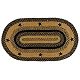 IHF Home Decor Star Black | Braided Area Rug Oval Living Room Bedroom Kitchen Porch Dormitory | Accent Durable Floor Carpet | Natural Jute Fiber - 27