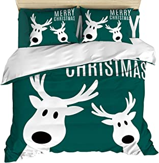 Edwiinsa 4 Piece Bedding Duvet Cover Set California King, Christmas Funny Holidays Elks Green Background Luxury Microfiber Polyester Kids Comforter Cover with Zipper Closure Corner Ties