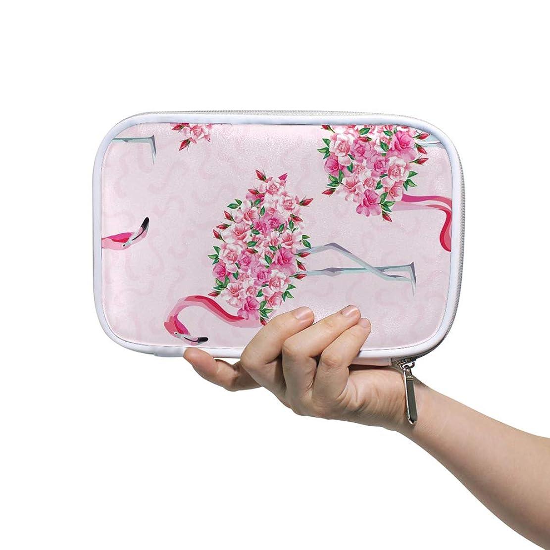 まっすぐにするリングパンフレットZHIMI 化粧ポーチ メイクポーチ レディース コンパクト 柔らかい おしゃれ 化粧品収納バッグ コスメケース 花 フラミンゴの柄 機能的 防水 軽量 小物入れ 出張 海外旅行グッズ パスポートケースとしても適用